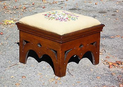 Antique Arts & Crafts Mission Foot Stool Ottoman Floral Needlepoint c. 1900