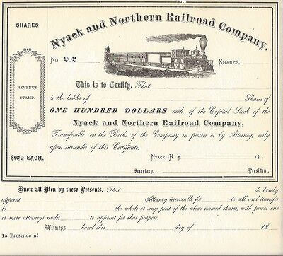 Nyack And Northern Railroad Company....1800's Unissued Stock Certificate
