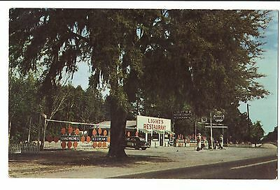 Vintage Postcard Richmond Hill GA Light's Motor Court Cities Service Gas Pumps