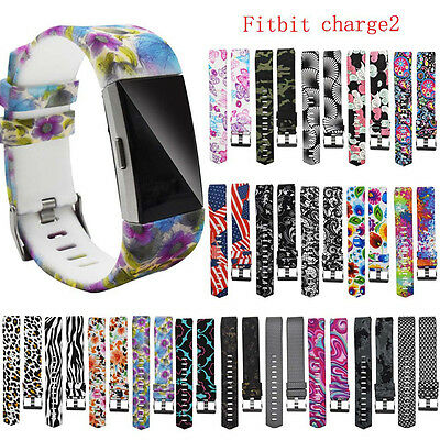 Replacement Wrist Band Silicon Strap Flower Bracelet+Buckle For Fitbit Charge 2