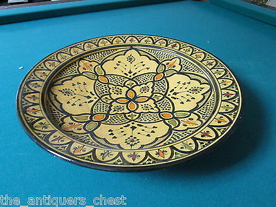 """Moroccan footed platter/centerpiece pottery handpainted, 3"""" tall by 16"""" diam[*]"""