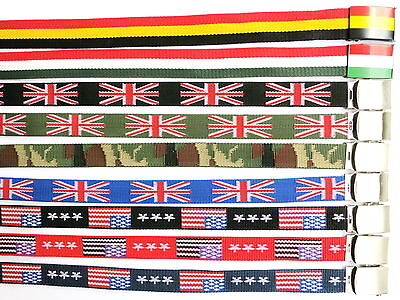 New Mens Unisex UK USA Flag Funky Canvas Fabric Webbing Buckle Belt Army Golf