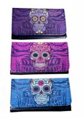 Candy Skull Print PU Tobacco Pouch fit 25g cigarette roling papers