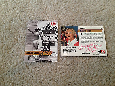 2 Marilyn Green Signed Autograph Nascar Cards Pro Set Racing