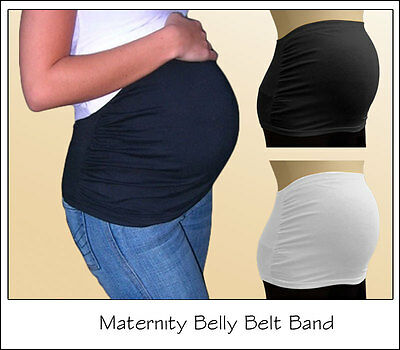 MATERNITY PREGNANCY BELLY BELT BUMP BAND - Black or White Free P&P