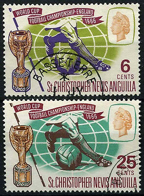 St. Christoper Nevis & Anguilla 1966 SG#157-8 World Cup Football Used Set#D36080