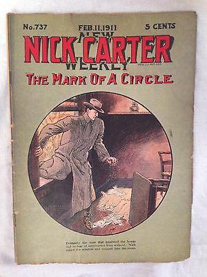 Nick Carter Weekly - February 1911 No 737 - Street & Smith, Original Pulp - RARE