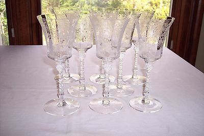 Set of 8 Heisey OLYMPIAD Etched Water Goblets