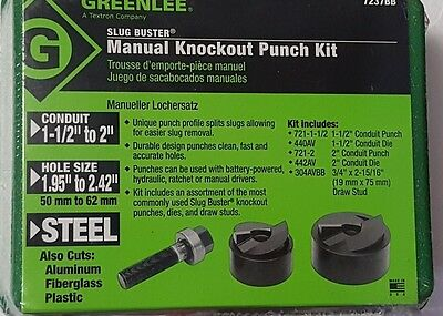 "Greenlee 7237BB - 1-1/2"" - 2"" Conduit Size Manual Slug-Buster Knockout Punch Kit"