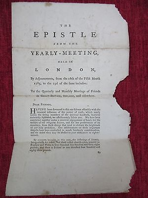 1785 Antique Document The Yearly Meeting Epistle London The Quakers FC57
