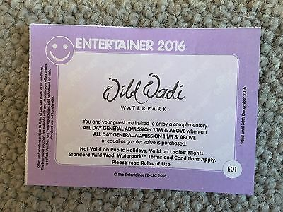 ** FLASH SALE ** Wild Wadi  BOGOF Entry voucher - Entertainer Dubai 2016 Voucher