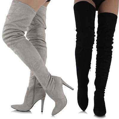 Ladies Long Tall Faux Suede Over Knee Thigh High Stiletto Heel Pointed Toe Boots