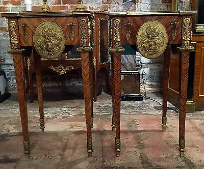 Pair of 20th Century Gilt Bronze Mounted Louis XVI Style Side Tables