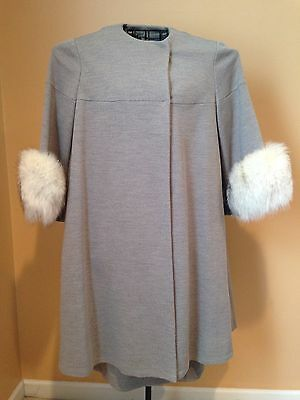 Vtg The American Way With Wool Gray Coat & Dress Fur Cuffs