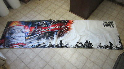 """Budweiser """"Cool Your Pipes"""" / Motorcycle Banner for Bar / Man Cave / Garage Plus"""