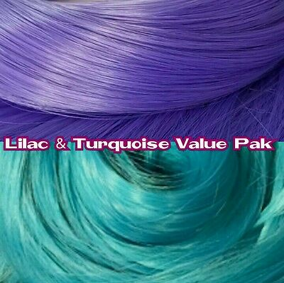 Lilac & Turquoise Blue XL 2 Color Value Pak Nylon Doll Hair Rerooting Dolls Pony