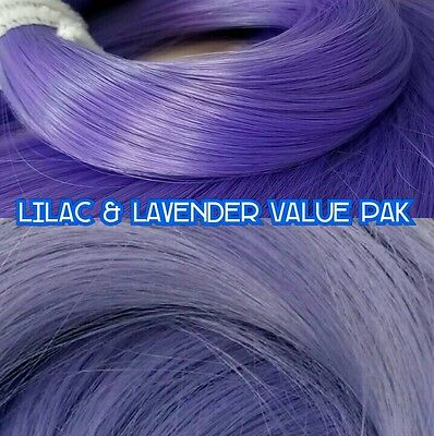 Lilac & Lavender Purples XL 2 Color Value Pak Nylon Doll Hair rooting Dolls Pony