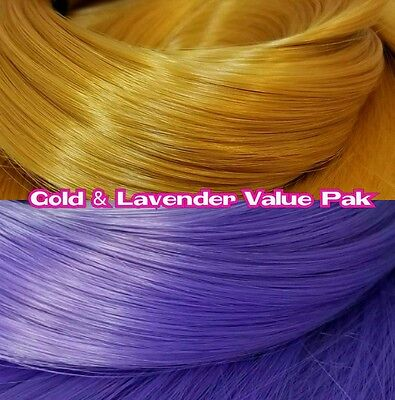 Gold & Lavender Purples XL 2 Color Value Pak Nylon Doll Hair rooting Dolls Pony