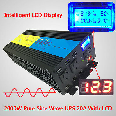 2000W 40000W PEAK 12V-240V Pure Sine Wave power Inverter UPS with 20A CHARGER