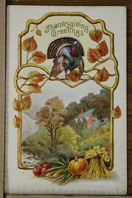 "ANTIQUE 1910's THANKSGIVING POSTCARD ""Embossed Autumn Harvest Scene"" Not Posted"