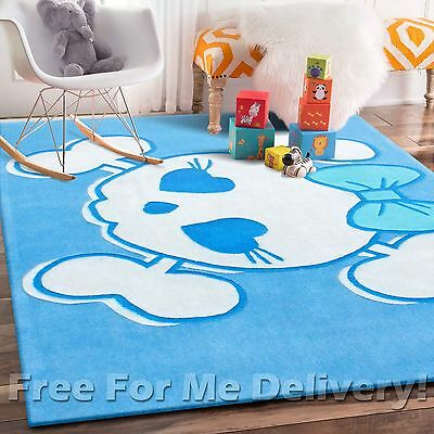 CANDY KIDS BLUE HEART SKULL THICK FLOOR RUG (S) 115x165cm **FREE DELIVERY**