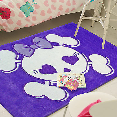 CANDY KIDS PURPLE HEART SKULL THICK FLOOR RUG (S) 115x165cm **FREE DELIVERY**