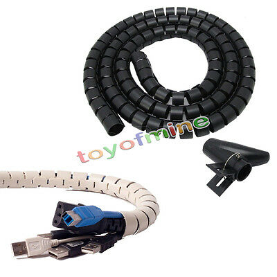 2.5M Flexible Spiral Cable Cord Power Wire Management Organizer Wrap with Clip