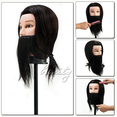 """14"""" 100% Real Hair Beard Hairdressing Cut Training Man Head Mannequin with Clamp"""