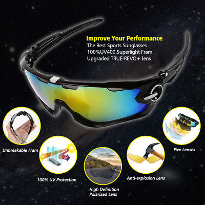 Pro Polarized Cycling Glasses Bike MTB Outdoor Sports Sunglasses 5 Lens Goggles