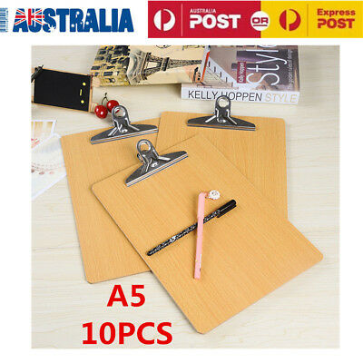 10pcs Wooden A5 Clipboard Hardboard Menu Board With Clip For Office Home School