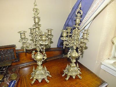 Pair of French Neo Gothic Style Brass Candelabra