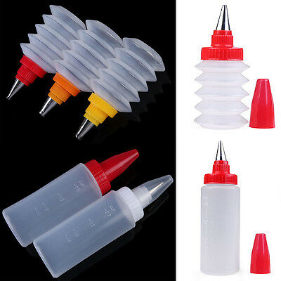 Reusable Icing Piping Sauce Bottle+ Nozzle Cake Cupcake Pastry Decorating Tool