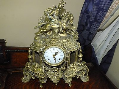 Large Brass French Neo-gothic Style Clock