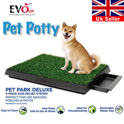 "20""x25"" Indoor Pet Toilet Dog Grass Mat Restroom Potty Training Loo Pad Tray"