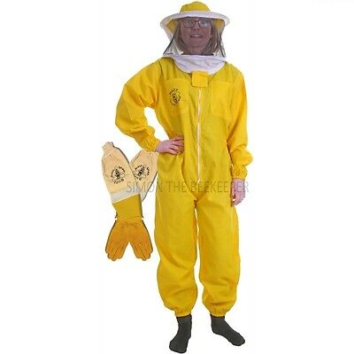 [UK] Buzz Basic Beekeeping Yellow Round Veil Bee Suit & Ventilated Gloves