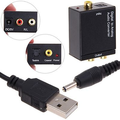 RCA Digital Optical Coax Coaxial Toslink to Analog Audio Converter Adapter Cable