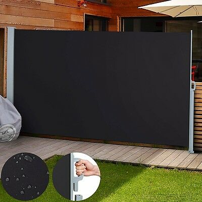 Blind Side Retractable Sunshade Awning Screen Garden Patio Black 200 x 300cm New