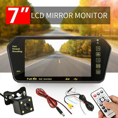 "7"" LCD Car Rear View Backup Mirror Monitor+Wireless Reverse Camera Cam System"