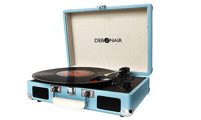 Retro Turntable Briefcase Style Vinyl Record Player Attache Built In Speakers