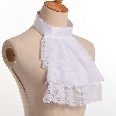 Detachable Lace White Ruffle Collar Jabot Collar Victorian Steampunk Edward