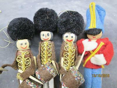 4 Vintage Hand Crafted Wooden Clothspin Drummer Boys & Guard Christmas Ornaments