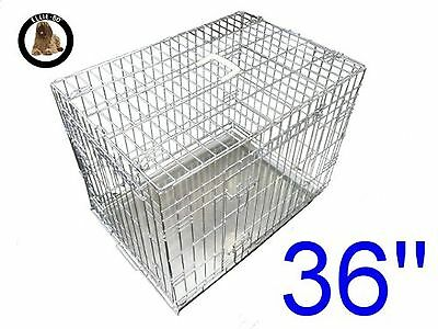 Ellie-Bo Dog Puppy Cage Folding 2 Door Crate with Non-Chew Metal Tray Large 3...