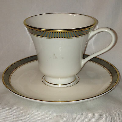 Pickard Usa Cypress Footed Cup & Saucer 7 Oz Green & Gold Lines Black Squares