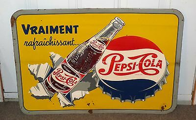 Superb 1950's French Canadian PEPSI-COLA tin graphic sign FREE SHIPPING!