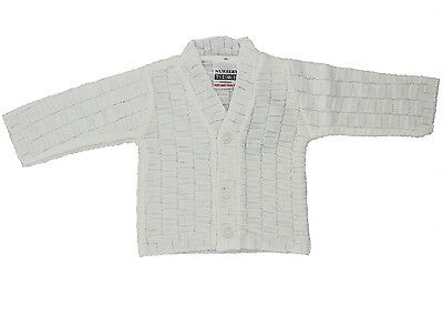 Knitted Baby Boys White Cardigan (Newborn - 6 Months)