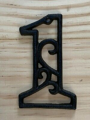 Vintage-Style Cast Iron Decorative Scroll NUMBER ONE (1) Address Street House