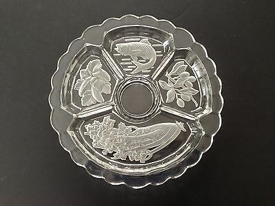 "12"" INTAGLIO CUT GLASS DIVIDED DISH BOWL FISH OLIVES CELERY CUCUMBER Vintage"