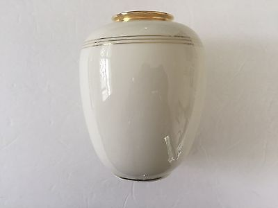 Vintage Ivory & Gold Rim / Stripe Balloon Vase By Mitterteich Bavaria Germany
