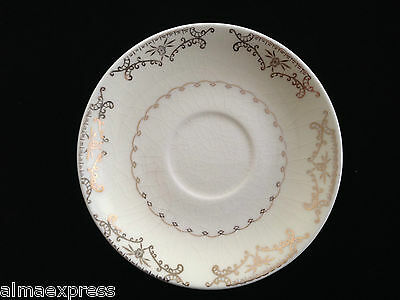 Paden City Pottery PCP212 TEA CUP SAUCER Gold Floral, Scrolls, Squiggly Verge