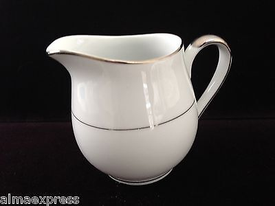 Mikasa Fine China Celebrity Japan Pattern 5428 White w/ Platinum CREAMER PITCHER